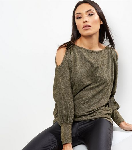 Loving This Gold Metallic Cold Shoulder Jumper  | New Look