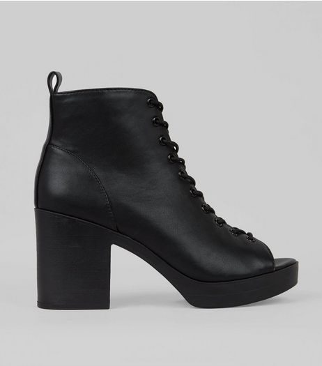 Black Lace Up Chunky Boots | New Look