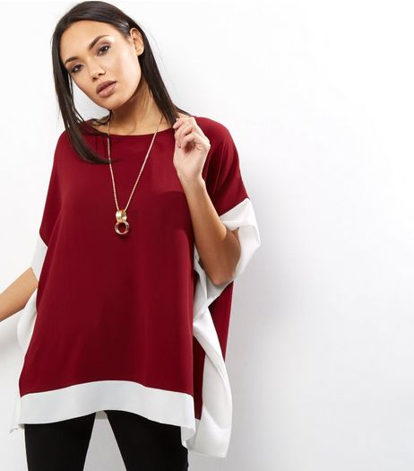 Loving This Burgundy Colour Block Kaftan Top | New Look