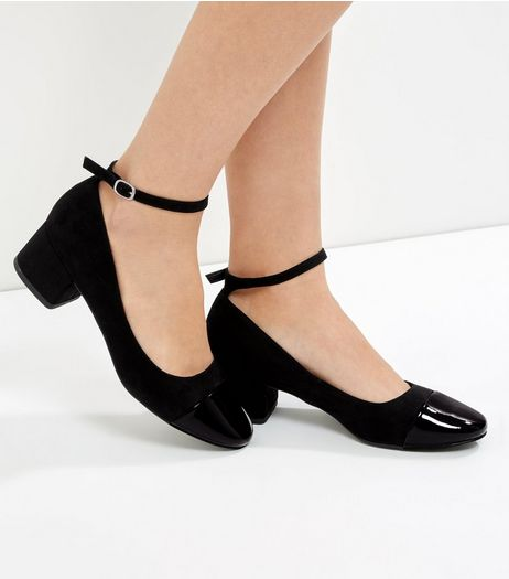 Black Suedette Contrast Toe Mini Block Heels | New Look