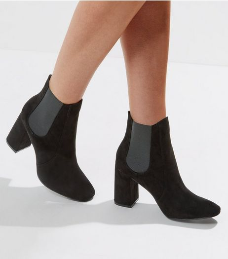 Black Suedette Square Toe Chelsea Boots | New Look