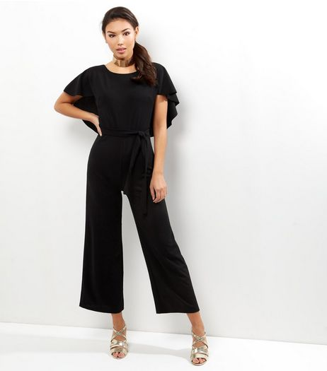 Loving This Black Frill Sleeve Tie Waist Jumpsuit | New Look