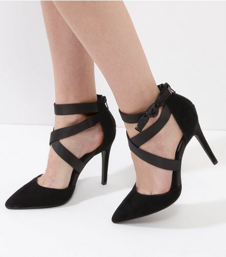 Black Suedette Cross Front Tie Side Heels | New Look
