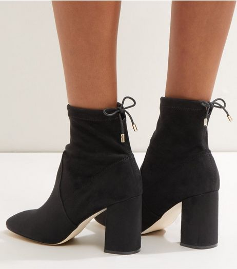 Black Suedette Tie Up Sock Boots | New Look