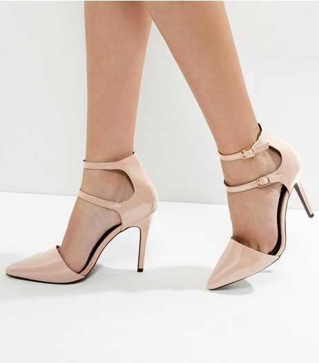 Light Brown Suedette Double Strap Pointed Heels | New Look
