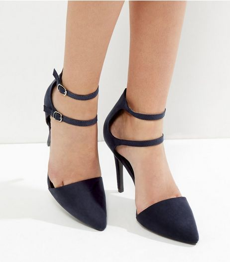 Navy Suedette Double Strap Pointed Heels | New Look