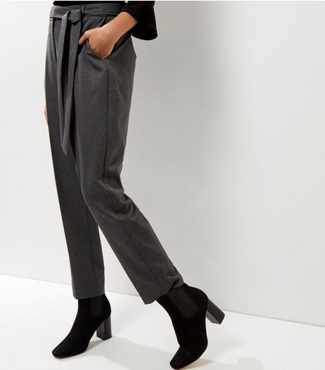 Dark Grey Herringbone Trousers  | New Look