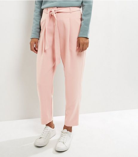 Mid Pink Tie Waist Trousers  | New Look