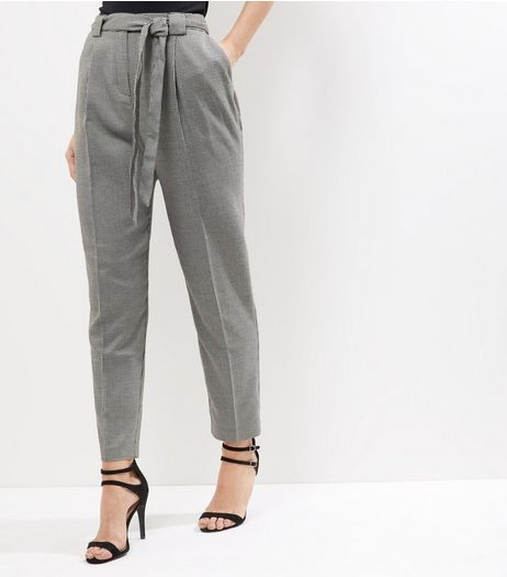 Black Dogtooth Tie Waist Trousers | New Look