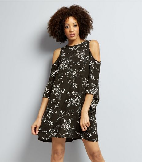 Black Blossom Print Cold Shoulder Tunic | New Look