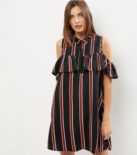 Black Stripe Cold Shoulder Shirt Dress | New Look