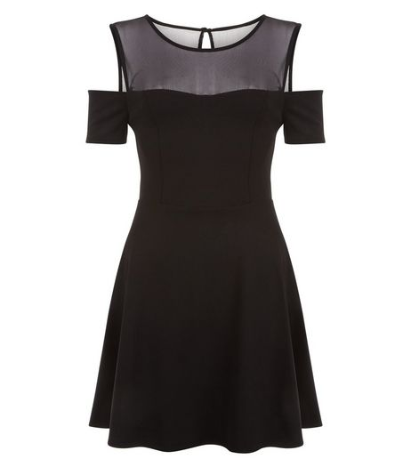 Teens Black Mesh Panel Cold Shoulder Skater Dress | New Look