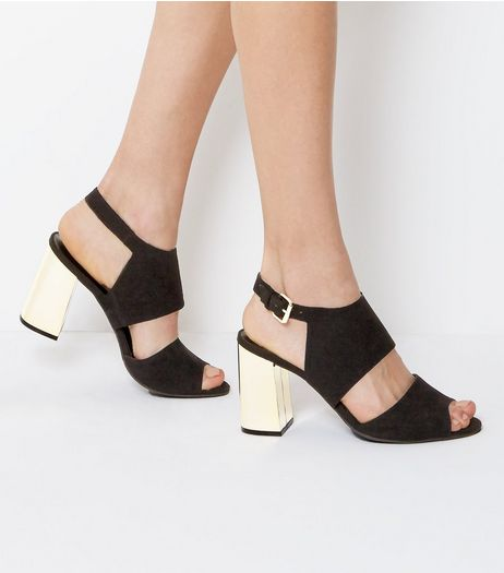 Black Suedette Metal Block Heeled Sandals | New Look