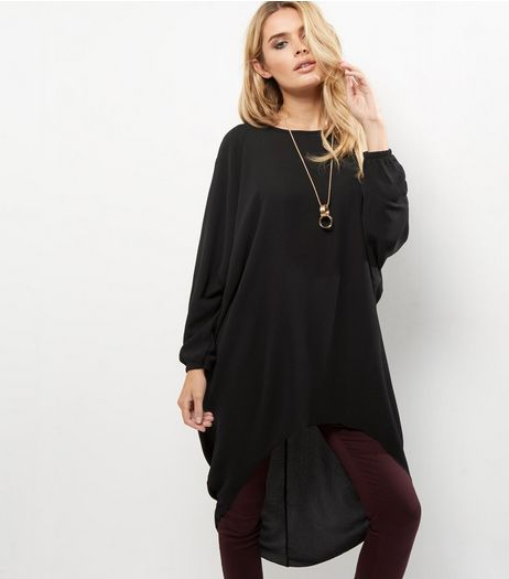Loving This Black Chain Necklace Dip Hem Longline Top | New Look