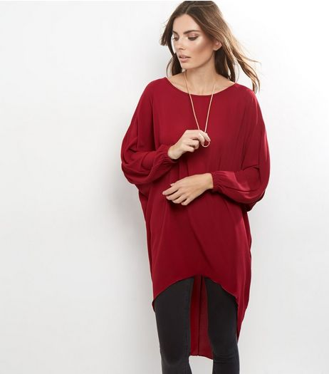 Loving This Burgundy Chain Necklace Dip Hem Top  | New Look