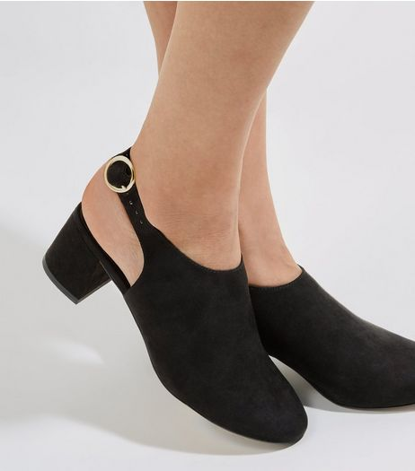Black Suedette Sling Back Mini Block Heels | New Look