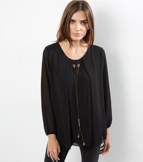 Loving This Black Chiffon Chain Neck Tunic | New Look