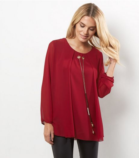 Loving This Burgundy Chiffon Chain Neck Tunic | New Look