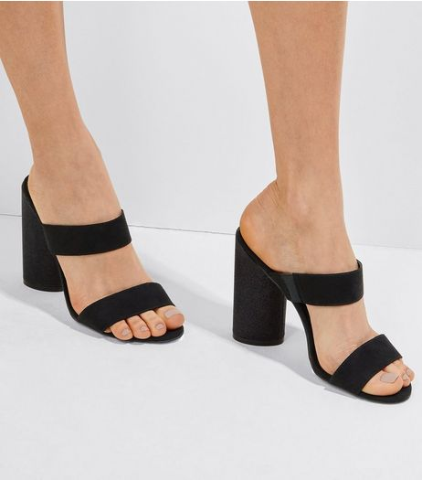 Black Suedette Glitter Cylindrical Heeled Mules | New Look