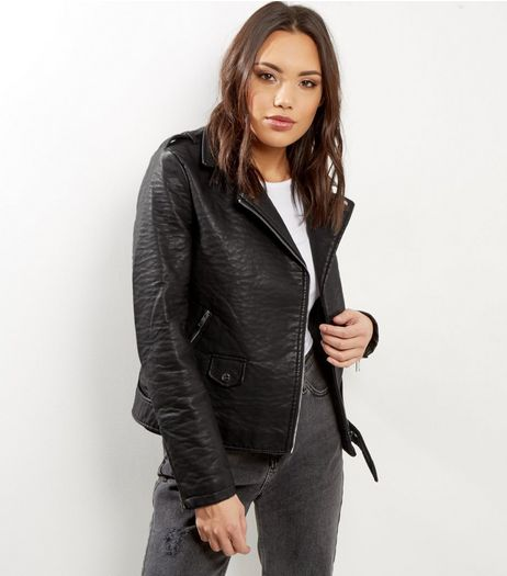 Black Textured Leather-Look Biker Jacket  | New Look