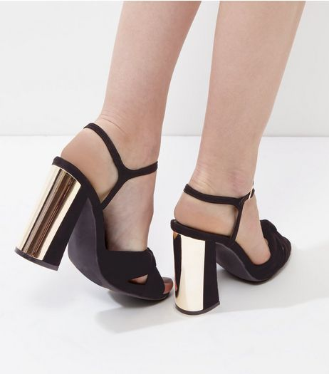 Black Suedette Knot Front Metallic Black Flared Heels | New Look