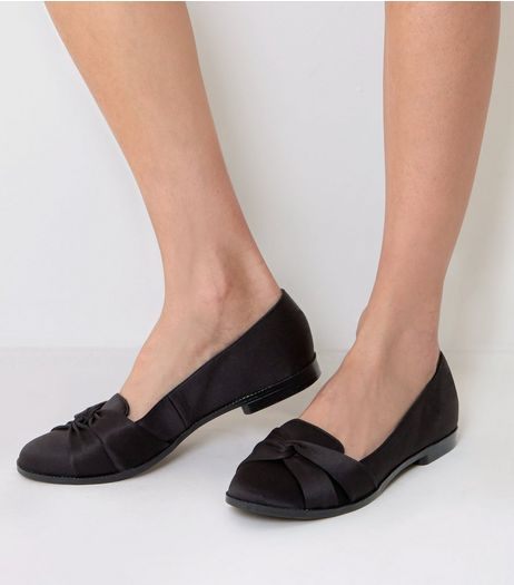 Black Satin Knot Front Loafers | New Look
