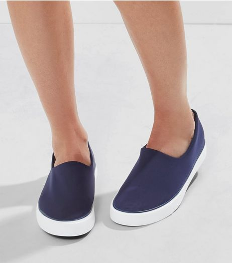 Navy Scuba Plimsolls | New Look