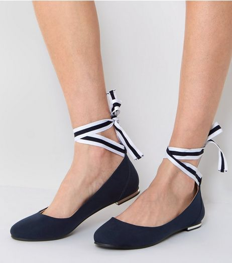 Navy Ankle Tie Pumps | New Look