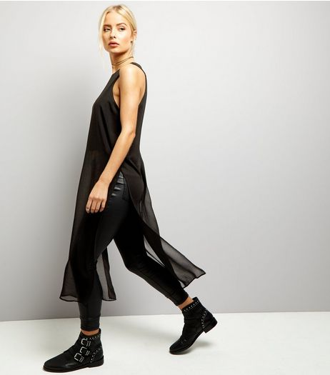 Black Sheer Sleeveless Split Side Longline Top  | New Look
