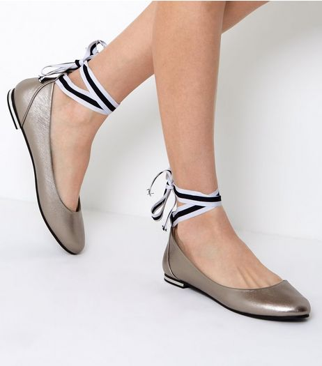 Pewter Metallic Ankle Tie Ballet Pumps | New Look