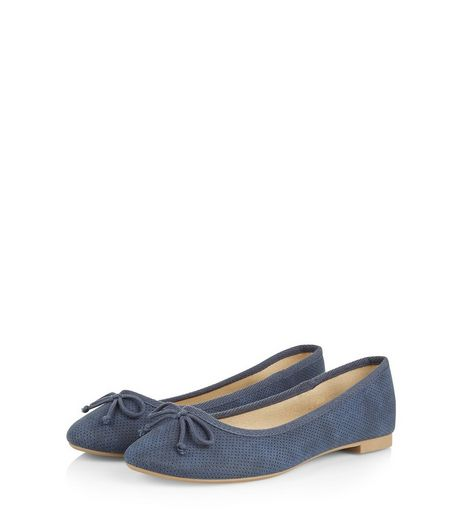 Light Blue Suedette Bow Front Ballet Pumps | New Look