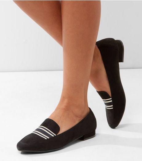 Black Suedette Contrast Stripe Panel Loafers | New Look