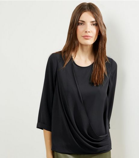 Black Drape Front 3/4 Sleeve Top | New Look