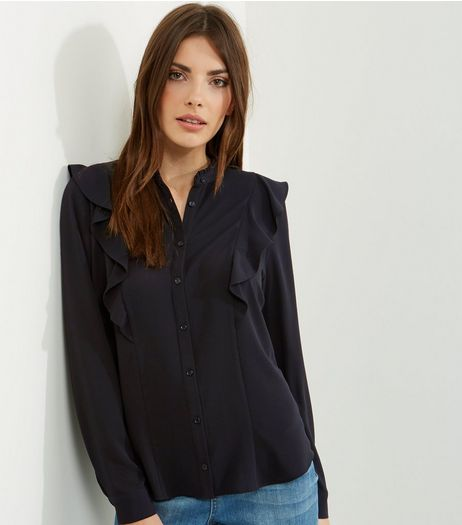 Black Frill Trim Long Sleeve Shirt | New Look