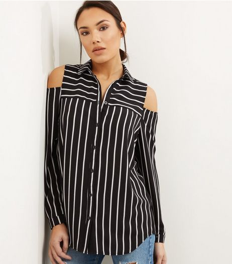 Black Stripe Cold Shoulder Shirt  | New Look