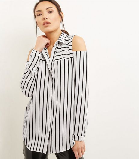White Cold Shoulder Stripe Shirt | New Look