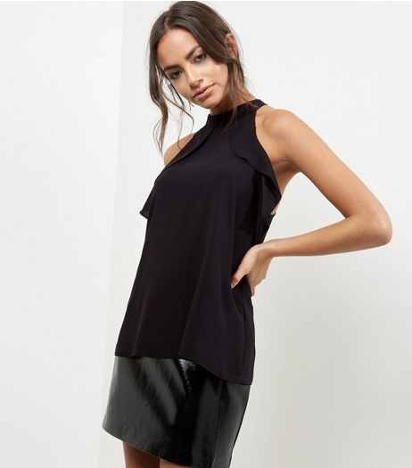 Black Halter Neck Frill Trim Sleeveless Top  | New Look