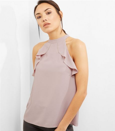 Mid Pink Frill Trim Halter Neck Top  | New Look