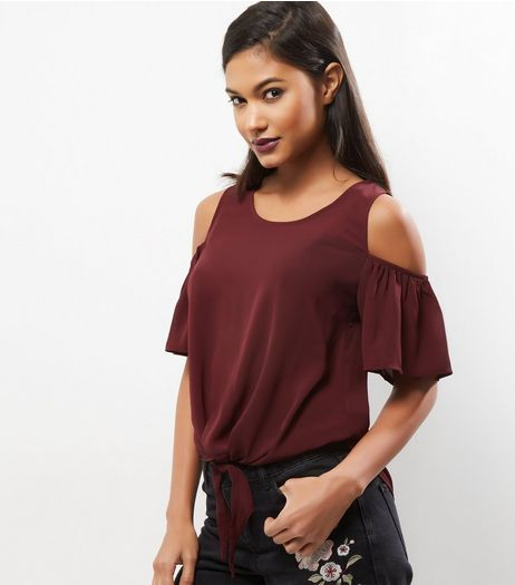 Dark Purple Cold Shoulder Elasticated Hem Top  | New Look