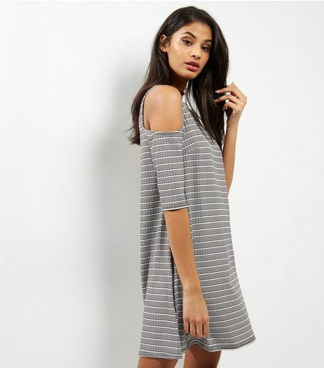 Grey Stripe Cold Shoulder Tunic  | New Look