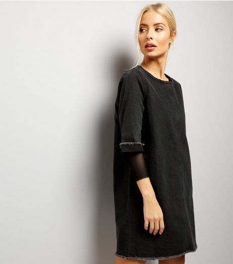 Black Denim Raw Hem Tunic Dress | New Look