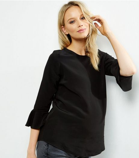 Maternity Black Bell Sleeve Top | New Look
