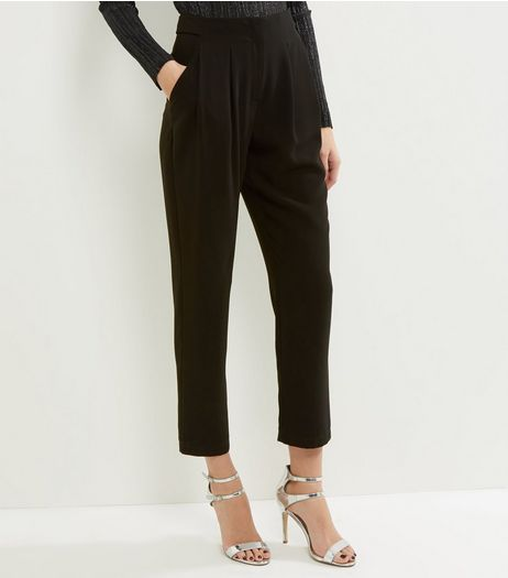 Black Pleated Front Slim Leg Trousers  | New Look