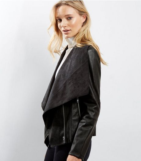 Black Leather Look Zip Detail Waterfall Jacket | New Look