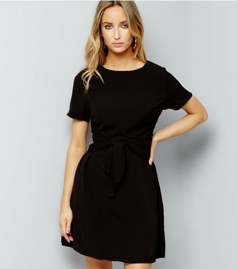 Black Tie Front A Line Dress | New Look