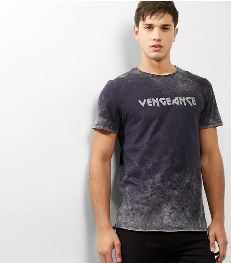 Dark Grey Acid Wash Vengeance Tour Print T-shirt | New Look