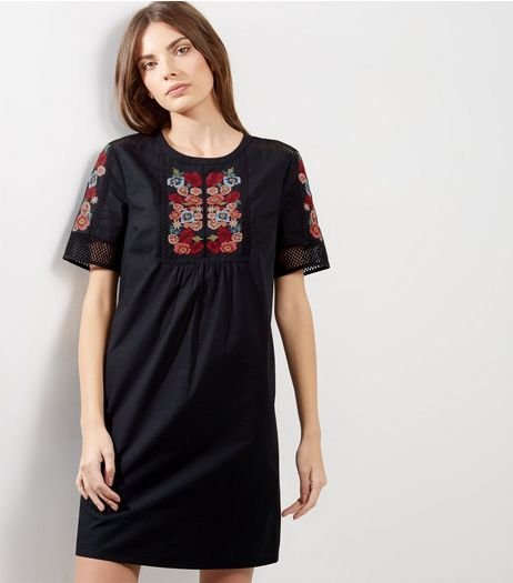 Black Floral Embroidered Mesh Panel Tunic | New Look