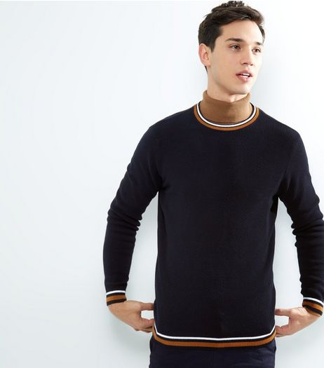Navy Stripe Trim Crew Neck Jumper | New Look