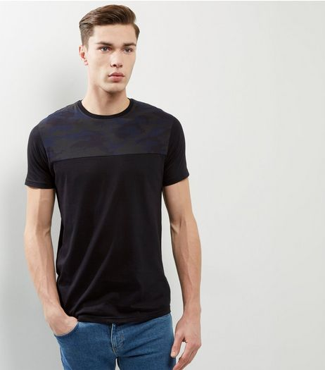 Black Camo Panel T-shirt | New Look