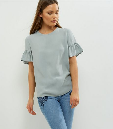 Mint Green Frill Trim Top  | New Look